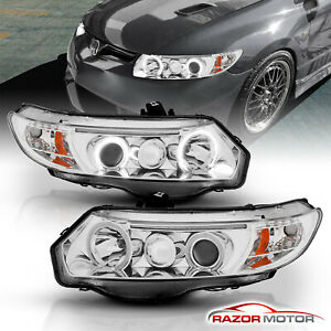 dual Ccfl Halo for 2006 2011 Honda Civic 2dr Coupe Chrome Projector Headlights