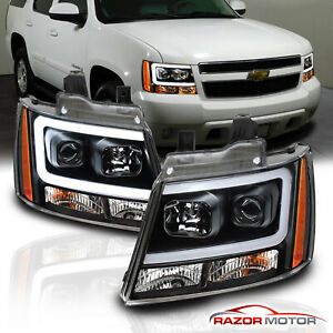 For 07 14 Chevy Suburban Tahoe Avalanche Black Led Bar Projector Headlights Pair