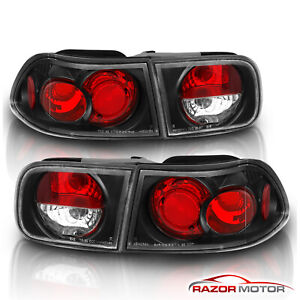 For 1992 1993 1994 1995 Honda Civic Coupe sedan Black Rear Brake Tail Lights