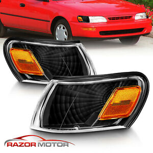 For 1993 1994 1995 1996 1997 Toyota Corolla Euro Black Corner Signal Lights Pair