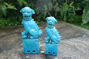 1 Big 1 Small Chinese Porcelain Pottery Carved Foo Dog Figurine Statue