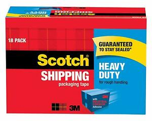 Scotch Heavy Duty Shipping Packaging Tape 18 roll Cabinet Pack Great For Packi