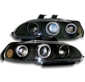 For 1992 1993 1994 1995 Honda Civic 2 3dr Jdm Black Set Halo Projector Headlight