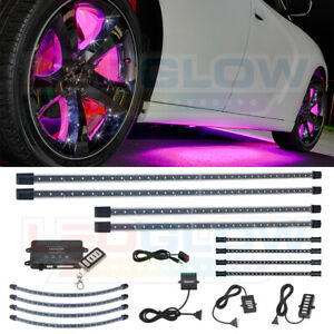Ledglow 4pc Pink Led Underbody Kit 4pc Wheel Well 4pc Interior Lights Combo