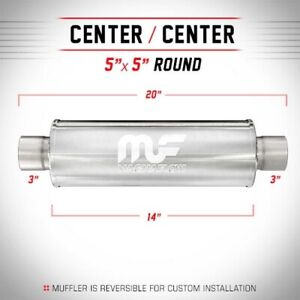 Magnaflow Muffler Ss Center 5 Inch Round 3 Inch Inlet Outlet 14 Inch Body 12867