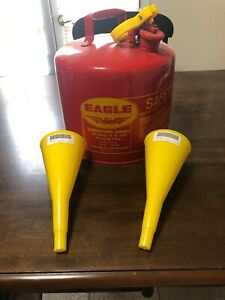 Eagle 5 gallon Metal Gasoline Can Red Gas Fuel Tank Steel W 2 Spouts Dented