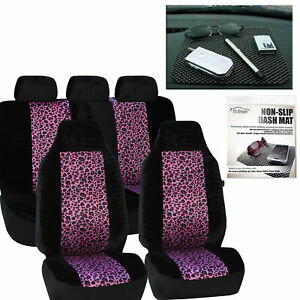 Car Seat Covers Purple Leopard Velour Luxury Free Gift Dash Grip Pad