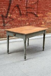 Antique Farm Table Harvest Entry Room Turned Wood Legs Drawer Kitchen Desk Old