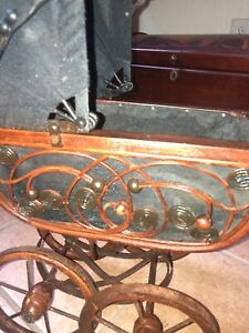 Antique Baby Doll Stroller Vintage Wooden Carriage Buggy Black Walnut