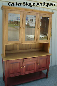 60320 Ethan Allen 2 Piece Country China Cabinet Curio