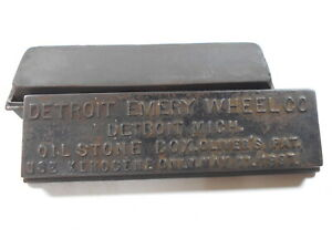 Antique Oil Stone Box Detroit Emery Wheel Company Sharpening Metal Collectible