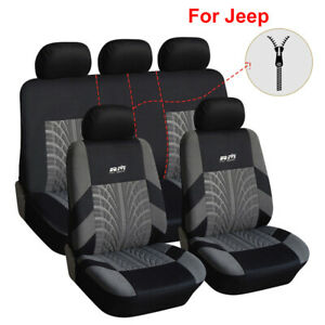 9pcs Universal Polyester Car Seat Cover Set Fit For Jeep Renegade Wrangler Tj Yj