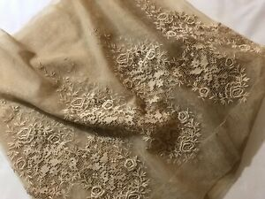 Antique Edwardian Panel Of Rich Padded Embroidery On Delicate Veil 85 X 18 1 2