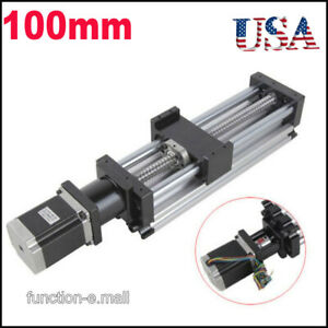 100mm Ball Screw Linear Cnc Slide Stroke Long Stage Actuator Stepper Motor Usa