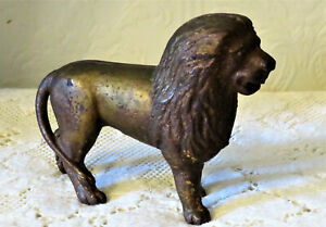 Antique Vintage Ac Williams Cast Iron Lion Still Piggy Bank Tail On Right Side