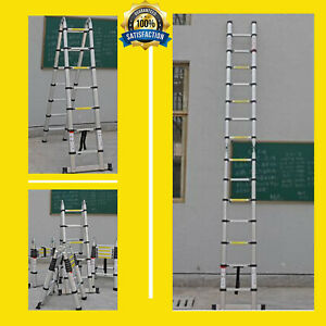 16 5ft Aluminium Multi purpose Telescopic Ladder Extension Steps Tall En131 5m