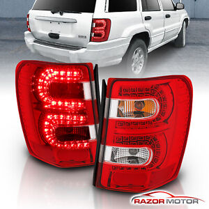 1999 2004 Jeep Grand Cherokee Red Euro Led Rear Brake Tail Lights Pair