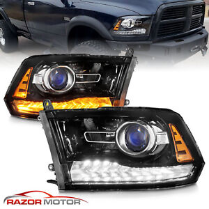 For 2009 2018 Dodge Ram 1500 2500 3500 Black Led Drl Halo Projector Headlights