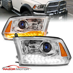 For 2009 2018 Dodge Ram 1500 2500 3500 Chrome Led Drl Projector Headlights