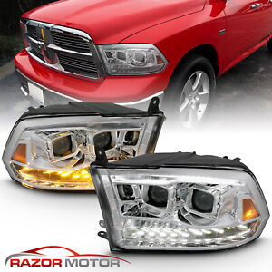 For 09 18 Dodge Ram 1500 2500 3500 Chrome Led Drl Dual Halo Projector Headlight