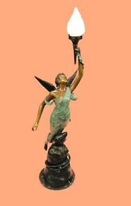 Vintage Georges Flamand Figural Art Nouveau Bronze Angel Theatrical Lady Lamp