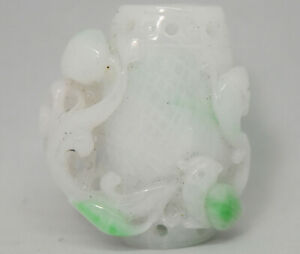 Beautiful Chinese Natural Hand Carved White Green Jade Amulet Pendant