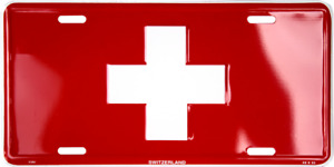 Switzerland Swiss Country Flag Aluminum Metal Novelty Car License Plate Sign Tag