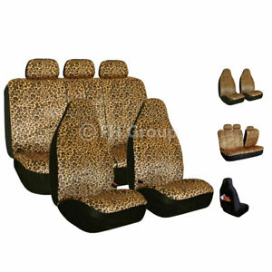 Brown Leopard Velour Seat Covers For Car Suv Van Universal Fitment