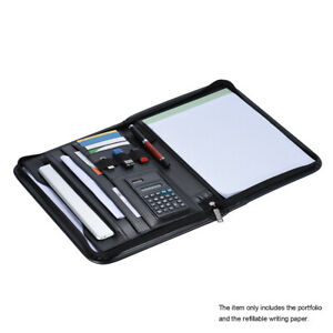 A4 Leather Zippered Case Portfolio Folder Card Holder Note Pad W calculator Y4g9