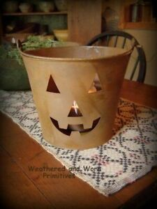 Primitive Country Rusty Bucket With Cut Out Halloween Face Measures 7 5 X 6 5