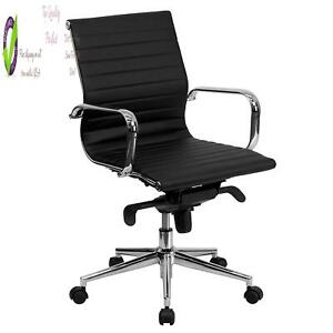 Flash Furniture Mid back Black Ribbed Leather Swivel Conference Chair With Knee