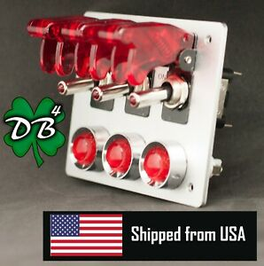 3 Aircraft Style Covered Toggle Switch Panel Aluminum Red Led Lights
