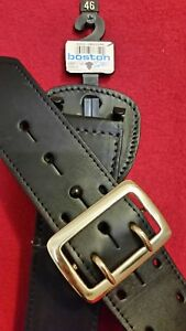 46 6501 Solid Brass Boston Leather Blk Plain Lined 2 25 Sam Browne Duty Belt