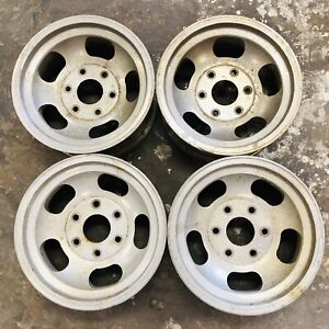 4 Used 6 Lug Aluminum Slotted Wheels Size 15 X 7 Lug Pattern 6 On 5 5