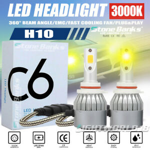 H10 Led Headlight Bulb 9005 Headlamp 3000k Golden 100w 20000lm Drl Day Light Kit