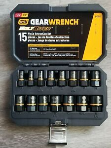Gearwrench 15pc Bolt Biter Impact Extractor Socket Set For Sae Metric 84783