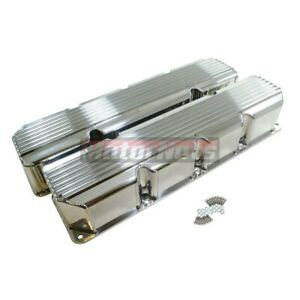 Jeep Amc Polish Fabricated Aluminum Finned Valve Covers 304 360 390 401 No Hole