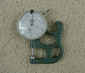 Vintage Teclock Thickness Gage Dial Indicator 0 5 0 001 With Handle Japan