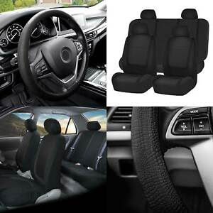 Flat Cloth Car Seat Covers Full Set Black W black Silicone Steering Wheel Cover