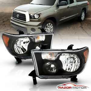 For 2007 2013 Toyota Tundra 2008 2017 Sequoia Factory Style Blk Headlights