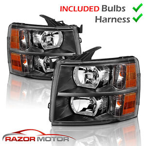 w Bulbs for 2007 2014 Black Headlight For Chevy Silverado1500 2500 3500 Hd