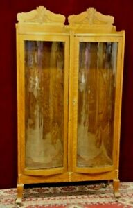 Vintage French Display Case Double Bent Glass Doors Carved Wood