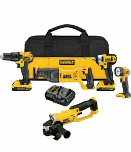 Dewalt 5 Tool 20 Volt Cordless Combo Kit Drill Saw Impact Wrench Led Grinder
