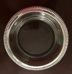 Wallace Vintage Solid Sterling Silver Rimmed Heavy Wine Bottle Coaster 5