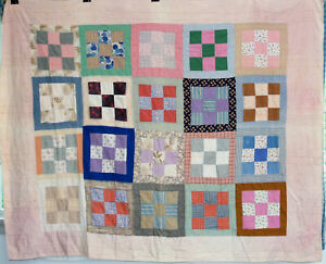 Vintage Mennonite Antique 9 Patch Quilt Late 1800 S