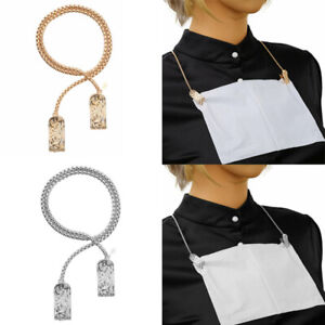 Portable Alloy Napkin Holder Necklace Chain Bib Clip For Adults Kids Elderly 16
