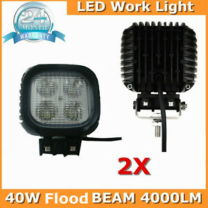 2x 4inch 40w Square Led Work Light Offroad Truck Driving Flood Lamp 4wd Fog Auto