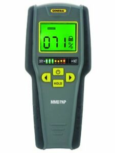 General Tools Mmd7np Moisture Meter Pinless Digital Lcd With Tricolor Bar Grap