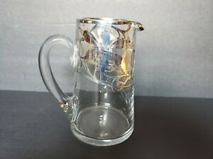 Sterling Silver Overlay Glass Pitcher Art Nouveau Water Cocktail Martini C1910