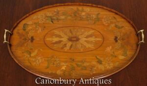 Victorian Drinks Tray Satinwood Butlers Inlay 1890